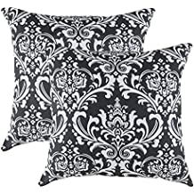 TreeWool, (2 Pack) Throw Pillow Covers Damask Accent Decorative Pillowcases Toss Pillow Cushion Shams Slips Covers for Sofa Couch (18 x 18 Inches / 45 x 45 cm; Black), White Background