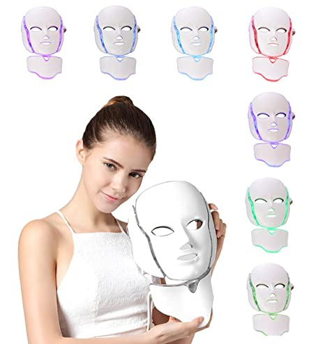 NBD® 7 Color LED máscara Light Therapy LED máscara Photon con cuello, Beaut Facial el cuidado de rajeunissement de la piel fototerapia Tratamiento ...