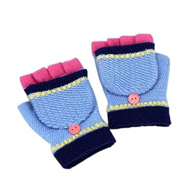 Kids Winter Clamshell Warm Boys Girls Half Finger Woolen Gloves 2 6 Years Old