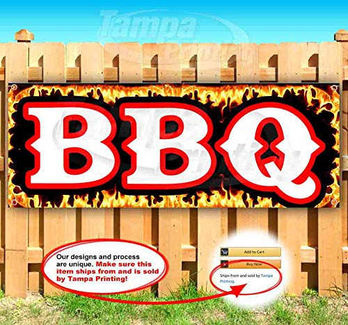 BBQ Flames 13 oz Heavy Duty Vinyl Banner Sign with Metal Grommets, New, Store, Advertising, Flag, (Many Sizes Available)