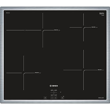 Bosch NIF645CB1M Integrado Con - Placa (Integrado, Con placa de inducción, Vidrio y cerámica, Negro, Acero inoxidable, Embellecedor completo, ...