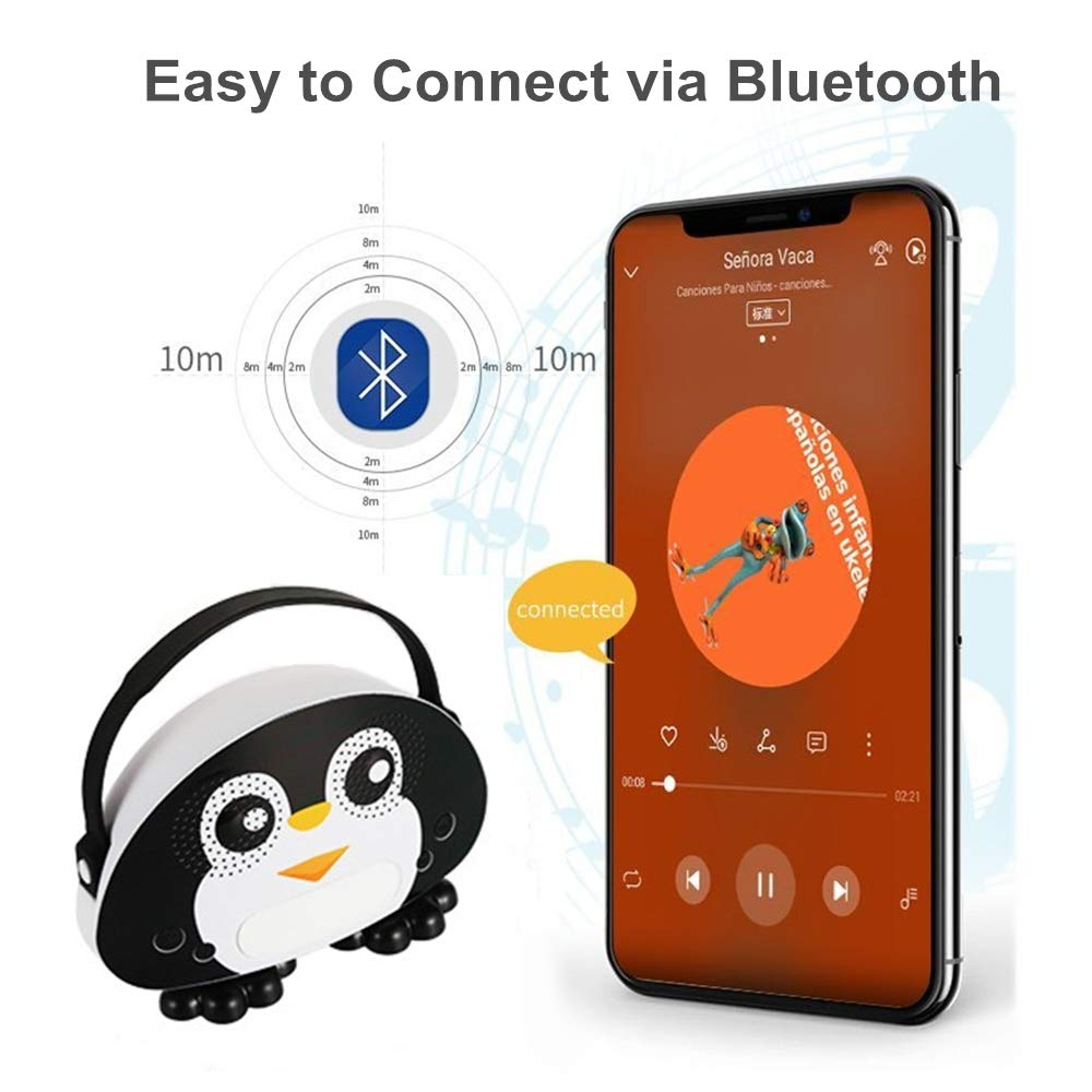 Kids Bluetooth Karaoke Machine with Microphone, Rechargeable Children's Wireless Loudspeaker Portable Cartoon Karaoke Music MP3 Player Toy with Microphone for Party Gift (Black) by OceanEC (Image #3)