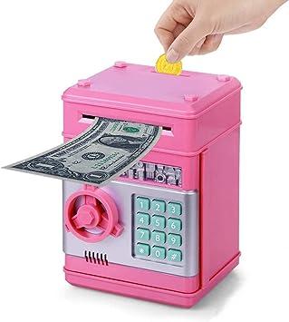 Wenosda Huchas Caja de Dinero Cajero Automático Electrónico Desplazamiento Moneda en Efectivo Hucha Contraseña Cajas de Seguridad Caja Fuerte, para Niñas Niños Cumpleaños (Rosa): Amazon.es: Juguetes y juegos
