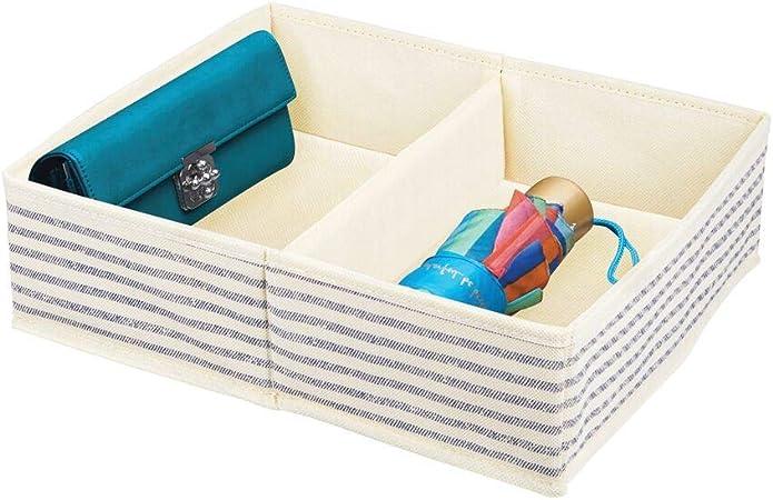 mDesign Organizador de Armario – Caja de Almacenamiento con 2 Compartimentos para ordenar armarios o cajones – Caja de Tela para Guardar Calcetines, Ropa Interior, etc. – Crudo/Azul: Amazon.es: Hogar