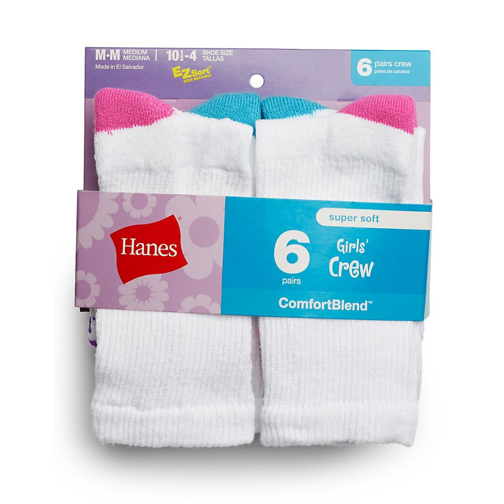 Hanes Girls Crew Socks 6-Pack_White_Large