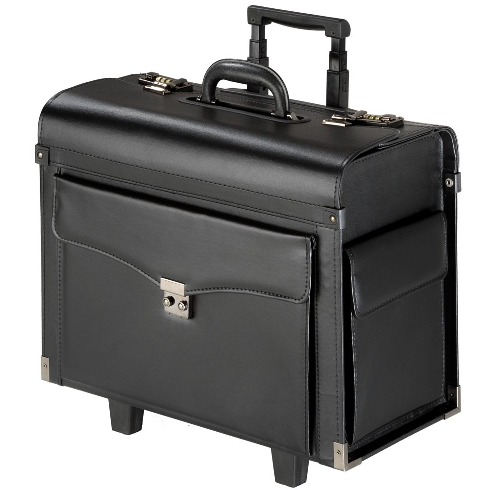 TecTake® Pilotenkoffer Aktenkoffer Businesskoffer Reisekoffer Trolley mit Rollen schwarz 400783