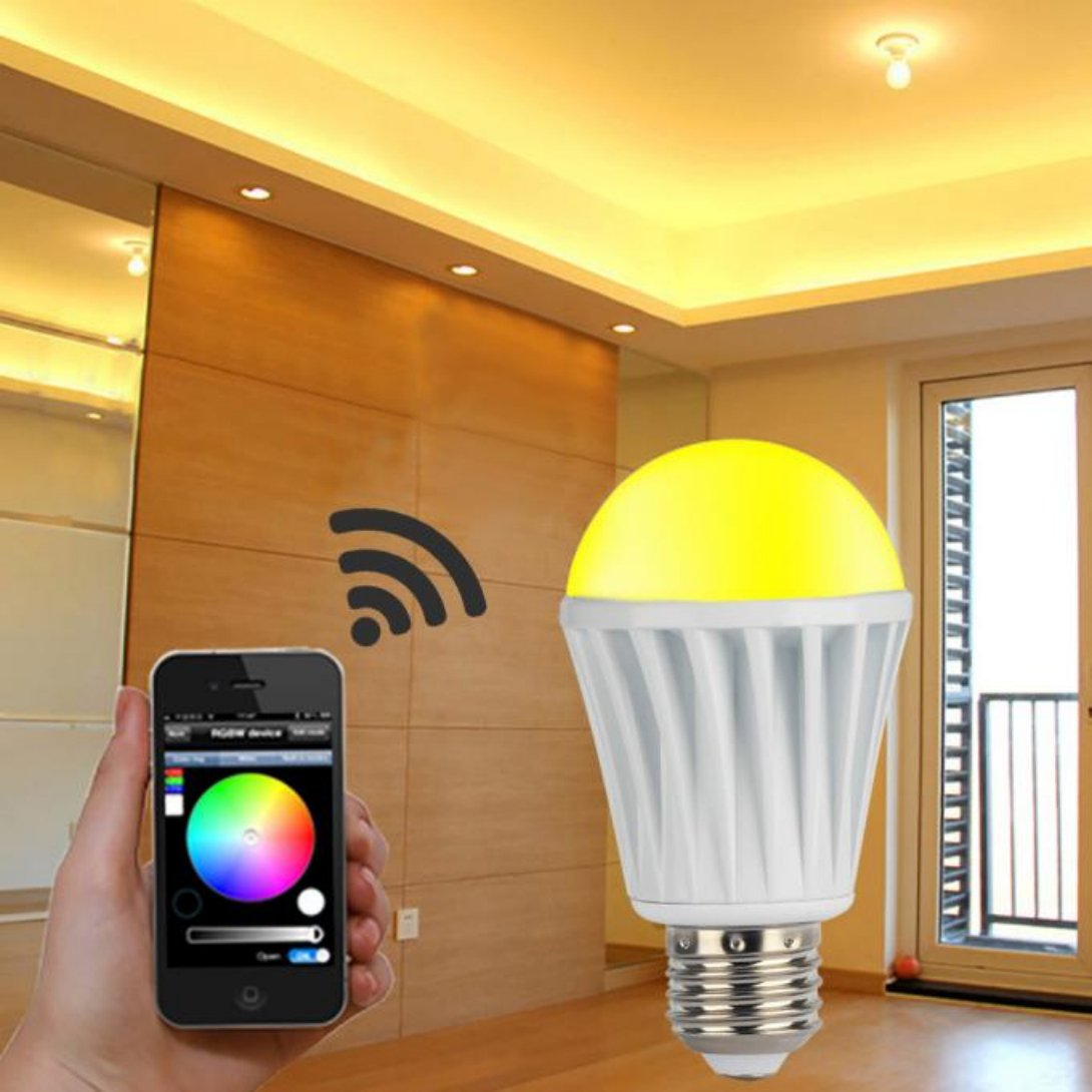 E27 7.5w 110v 220v Rgbw Led Light Wifi Controller for Ios Android