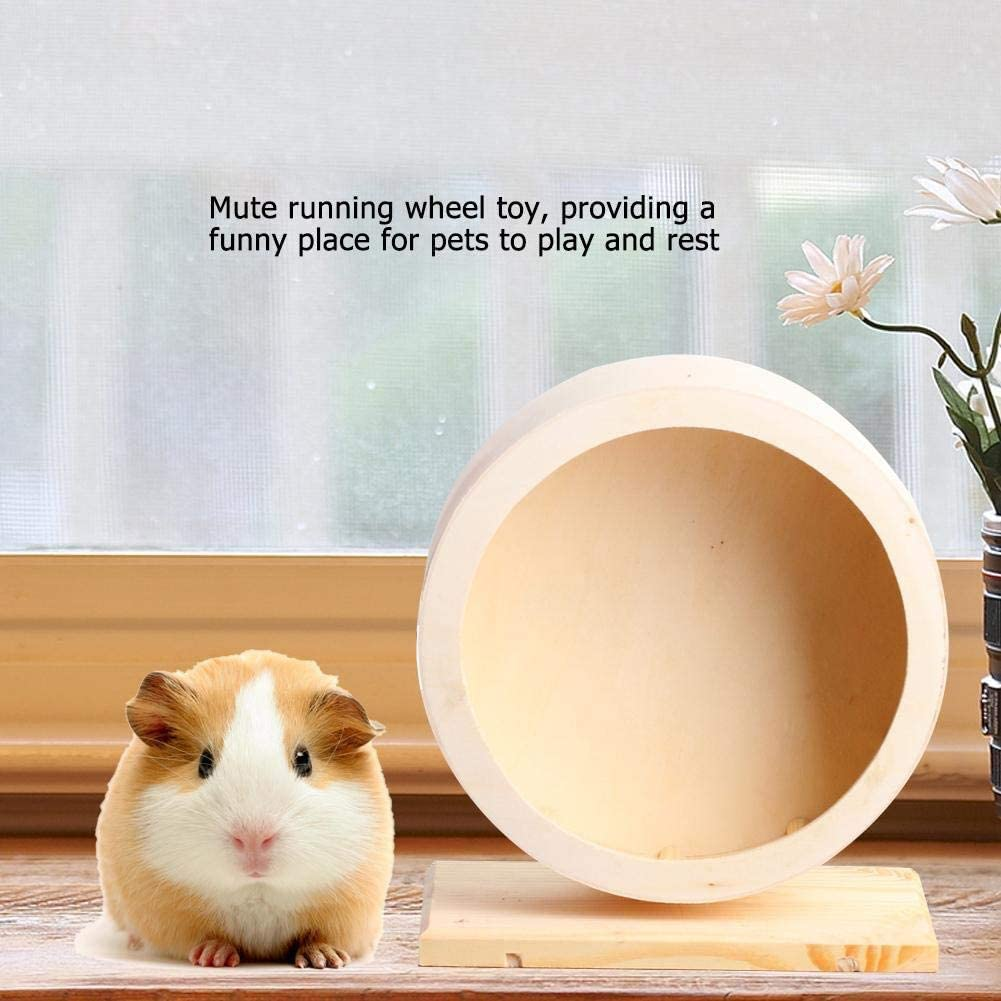 Small Pets Exercise Wheel Hamster Wooden Mute Running Spinner Wheel Play Toy for Rat Gerbil Mice Chinchillas Hedgehogs Guinea Pigs-20cm