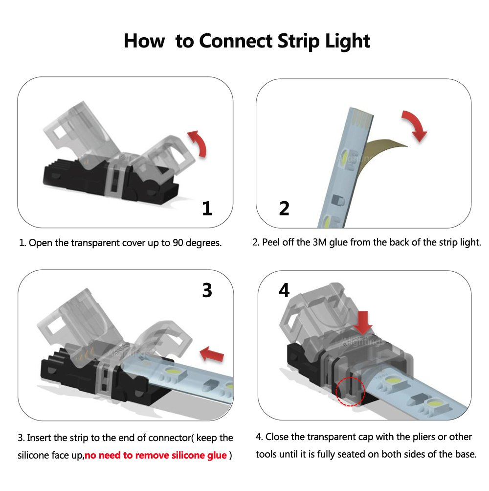 Alightings led connector for 4pin 5050 rgb waterproof led strip alightings led connector for 4pin 5050 rgb waterproof led strip lights strip to wire quick connection 20 18 awg wire no stripping amazon aloadofball Images