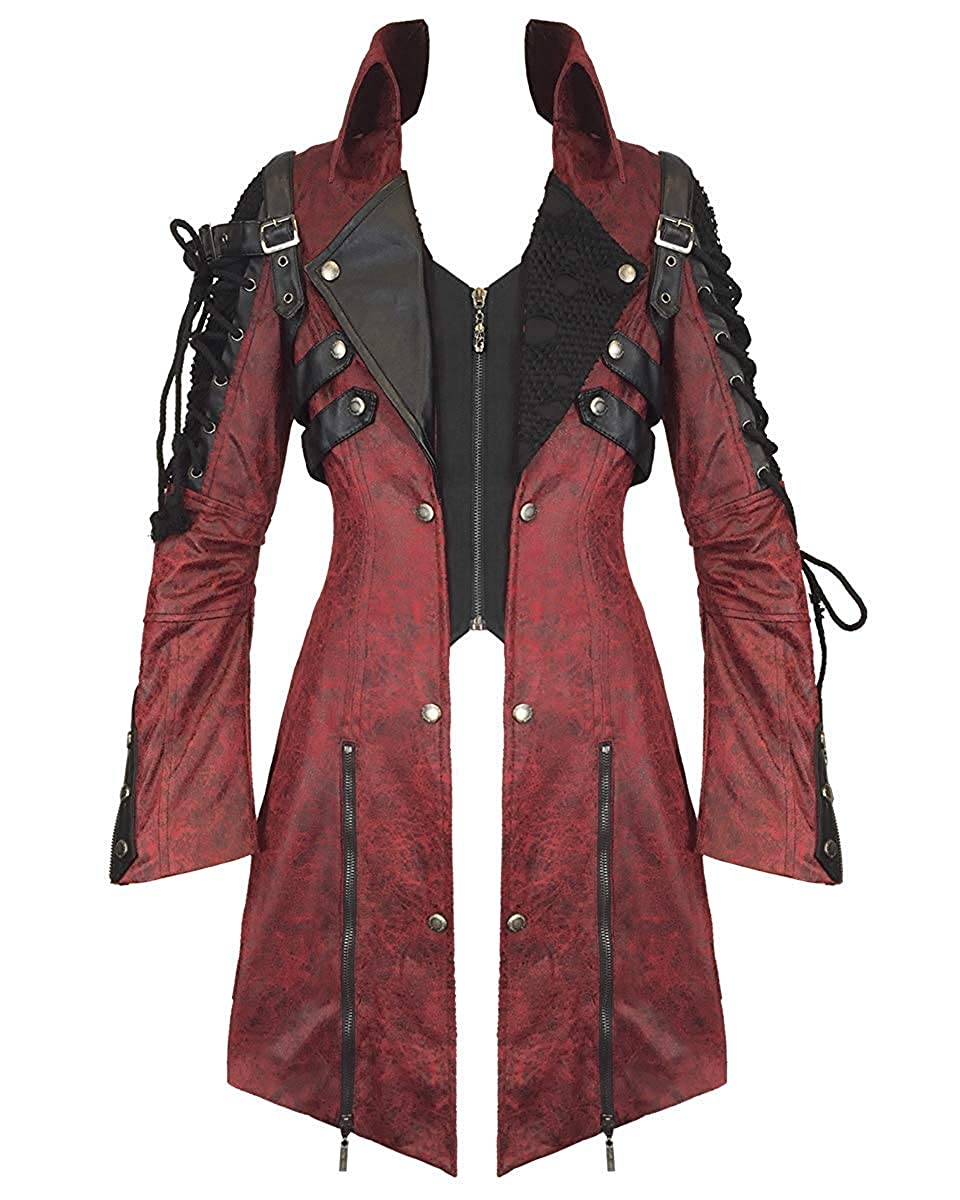 15ca042bd Punk Rave Poison Jacket Red Faux Leather Black Goth Steampunk Womens ...