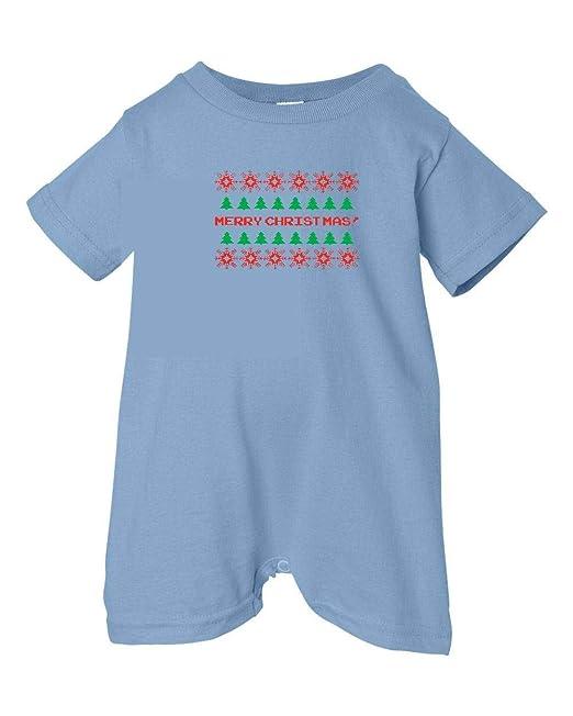 Festive Threads Unisex Baby Retro Sweater Design Merry Christmas T-Shirt Romper Lt. Blue, 24 Months
