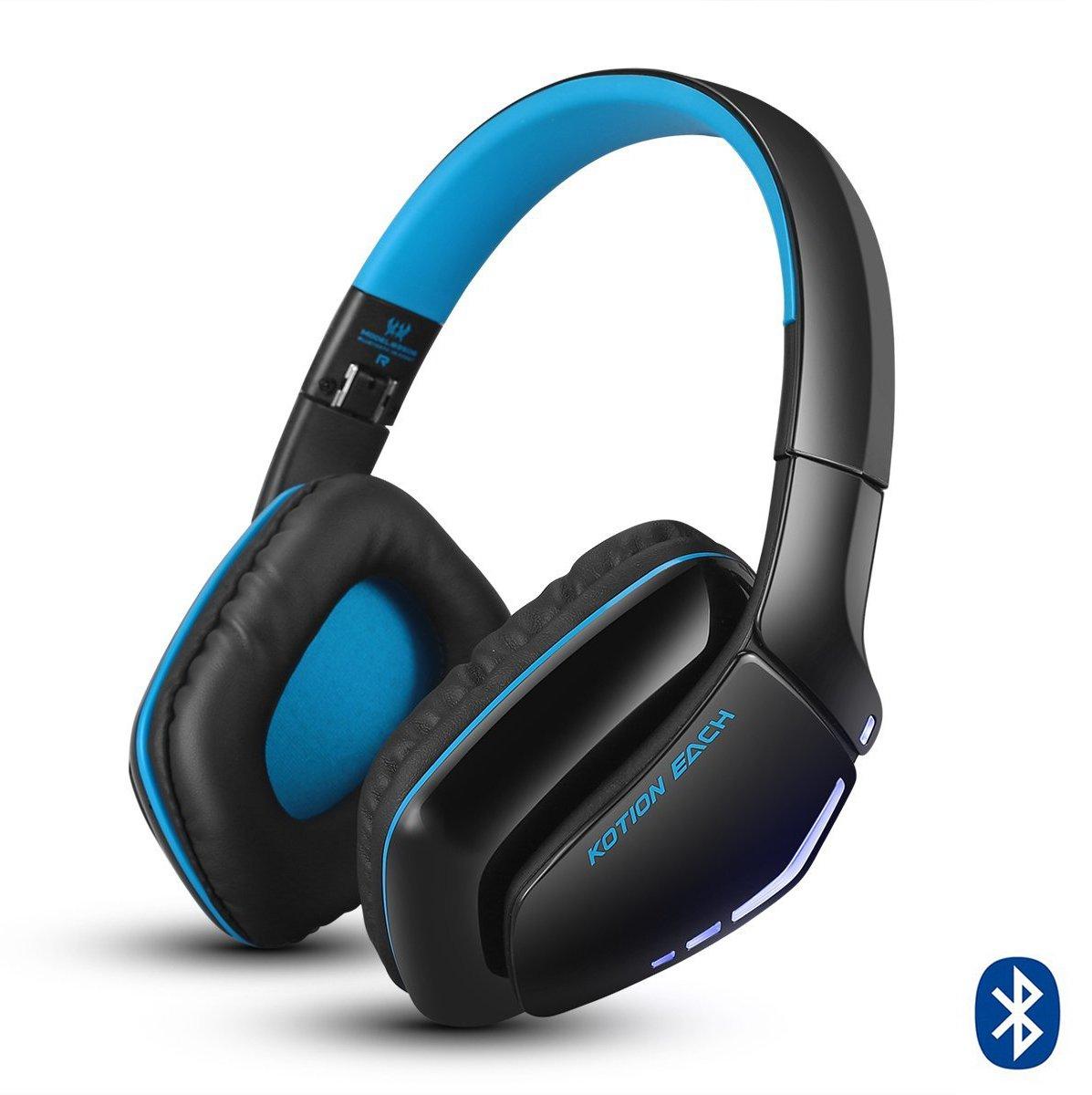 Casque Bluetooth, KOTION EACH B3506 Casque sans fil pour PS4, XBOX, ONE S, Casque de jeu pliable V4.1 avec micro pour Playstation 4, PC, Mac, Smartphones ou Ordinateurs (Orange)