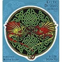 Peacemonger Celtic Dragons Art Decal Window Sticker