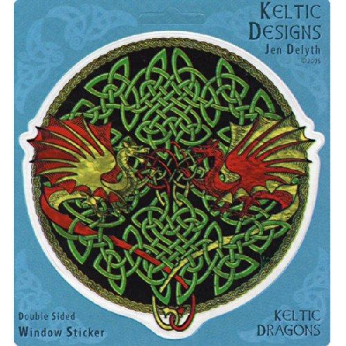 Peacemonger Celtic Dragons Art Decal Window Sticker ()