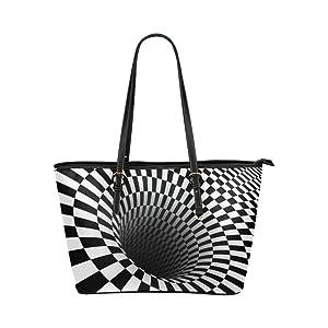 Women's Leather Large Tote HandBag Checkered Vortex 3D Shoulder Bag