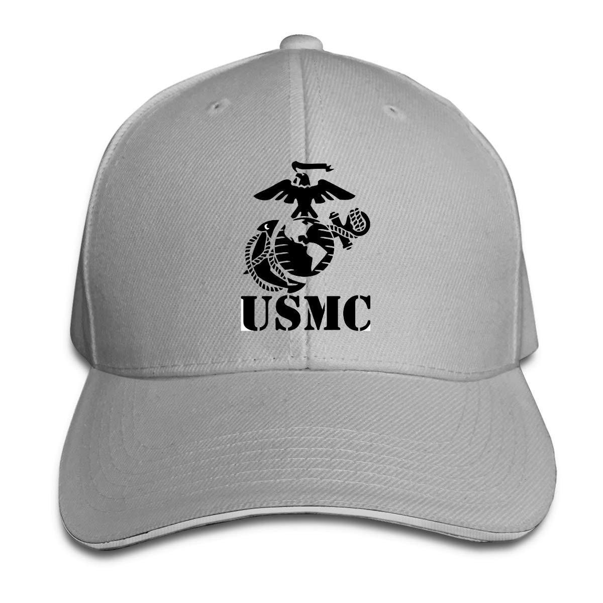 USMC Marine Corps Fashion Adjustable Cotton Baseball Caps Trucker Driver Hat Outdoor Cap Black