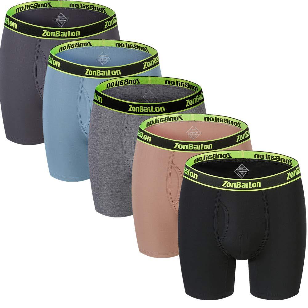 ZONBAILON Big and Tall Mens Running Underwear Boxer Briefs Long Leg Boxers for Men Pack XL by ZONBAILON