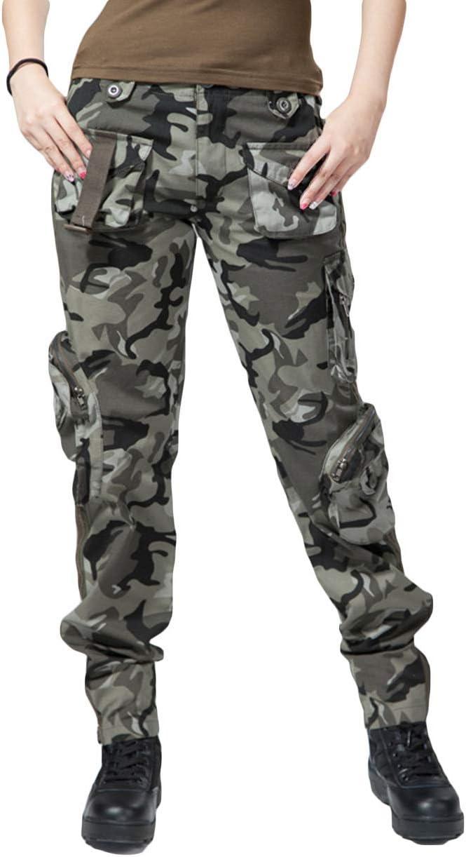 UR MAX BEAUTY Pantaloni Tattici da Esterno Mimetici da Donna Pantaloni Cargo Militari Attivi Multitasche,2,27