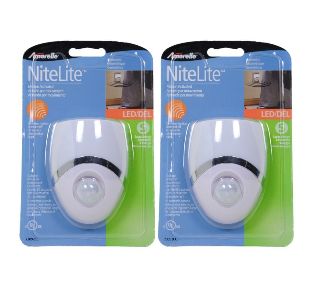 Amerelle Motion-Sensor LED Night Light – Plug-In LED Lights Turn on When Sensor Detects Motion – Ideal for Bedroom, Bathroom, Hallway, Nursery, Garage, Stairs – White / Nickel Finish, 2 Pack - 73092CC