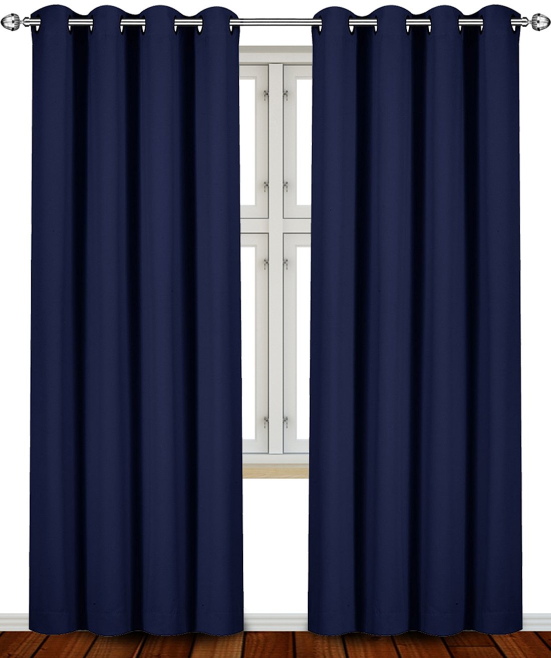 Utopia Bedding Blackout Room Darkening and Thermal Insulating Window Curtains/Panels/Drapes - 2 Panels Set - 8 Grommets per Panel - 2 Tie Backs Included (Navy, 52 x 84 Inches with Grommets) blackout curtains - 61PtmlobHxL - Blackout curtains – 7 best blackout curtains according to reviews