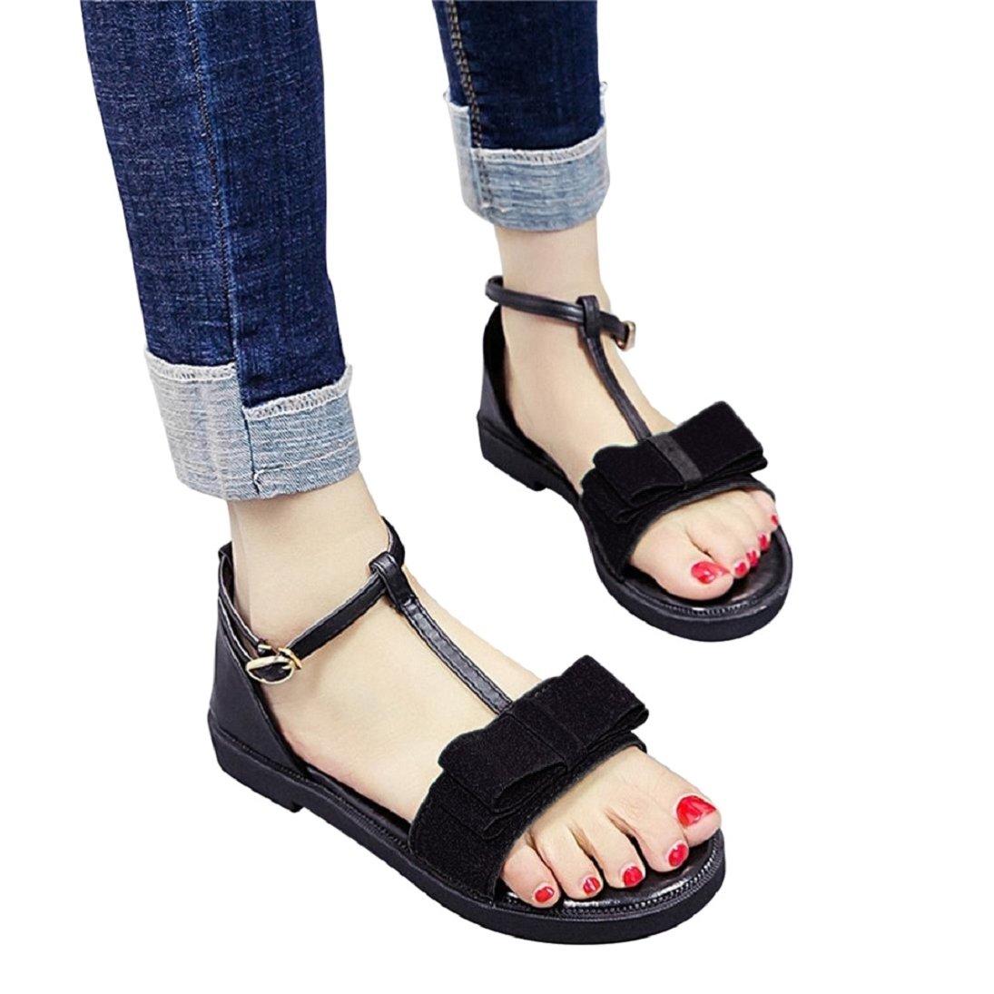 Fheaven Women Non-slip Sandals Summer Flat Bow Tie Black Sandals Buckle Strap Sandals (China size:37(US:6.5), Black)