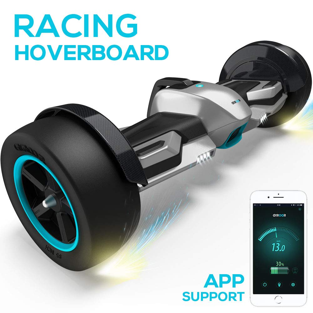 Gyroor G-F1 Hoverboard,8.5'' Off Road Hover Board with Bluetooth Speaker&LED Lights,Fastest Racing Self Balancing Scooter with App for Kids and Adult,UL2272 Certified(Silver)