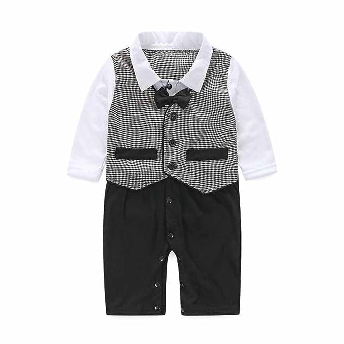 UOMOGO® vestiti battesimo bambino pagliaccetti neonato abiti cerimonia bimbo  eleganti abbigliamento matrimonio manica corta tutina 56d94b72b032
