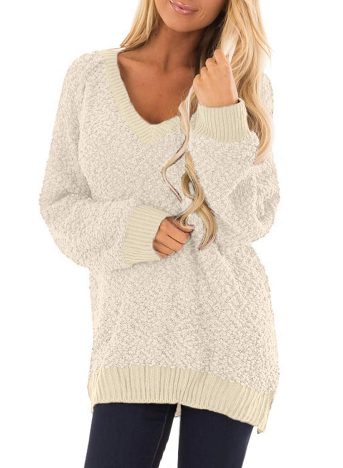 BLENCOT Women Fall Ladies Long Sleeve Sweaters Knitted Lightweight Solid Soft Jumper Pullover Tunic Sweaters Tops Apricot XL by BLENCOT