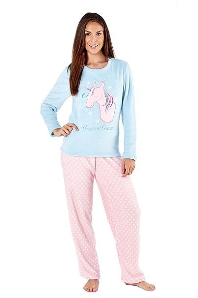Juego de pijama de invierno en polar con diseños de unicornio, bú
