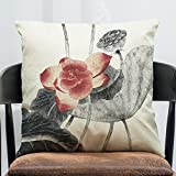 Sykdybz Sofa Cushion Classical Chinese Ink On Cotton Linen Pillow Set Of Antique Furniture Sofa Cushion Car Pillow, B