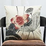 Sykdybz Sofa Cushion Classical Chinese Ink On Cotton Linen Pillow Set Of Antique Furniture Sofa Cushion Car Pillow, B