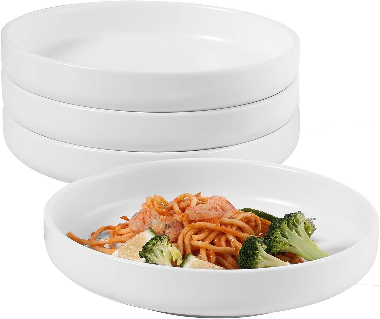 Hompiks Pasta Bowls Set of 4 Salad Pasta Bowls White Shallow Serving Bowl Porcelain Plates and Bowls Microwave and Dishwasher Safe 28 oz