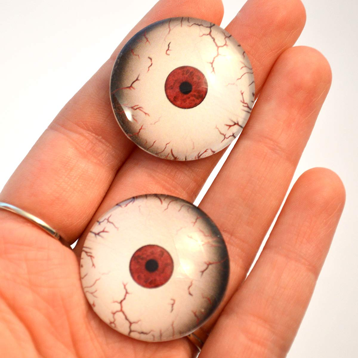 30mm Crazy Bloodshot Mars Martian Glass Eyes Scary Creepy Horror Art Dolls Taxidermy Sculptures or Jewelry Making Cabochons Crafts Matching Set of 2 in Red and White