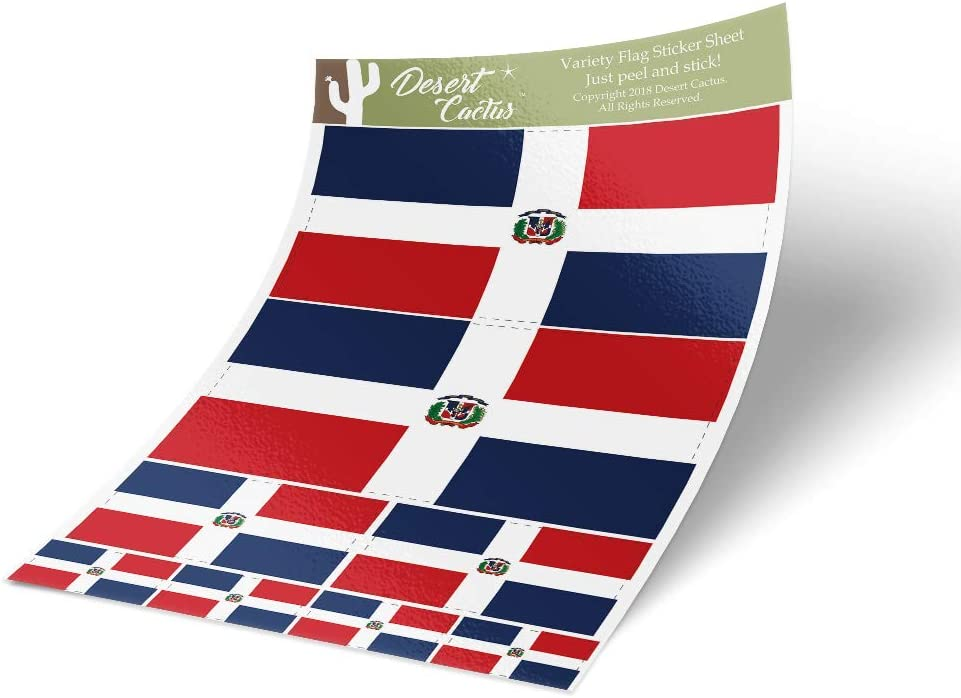 Dominican Republic Country Flag Sticker Decal Variety Size Pack 8 Total Pieces Kids Logo Scrapbook Car Vinyl Window Bumper Laptop V