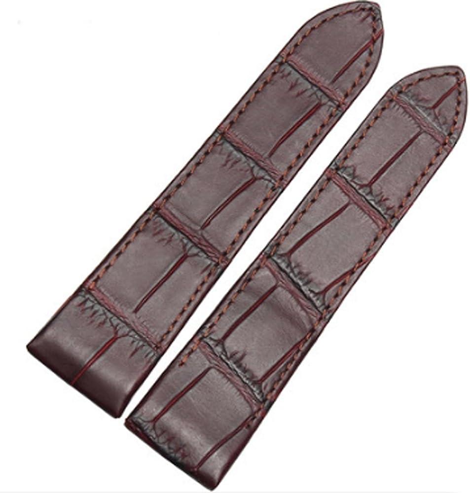 [Richie Correa] Correa de Piel Negra y marrón de 20 mm/23 mm de Repuesto para Cartier Santos 100XL W20106x8