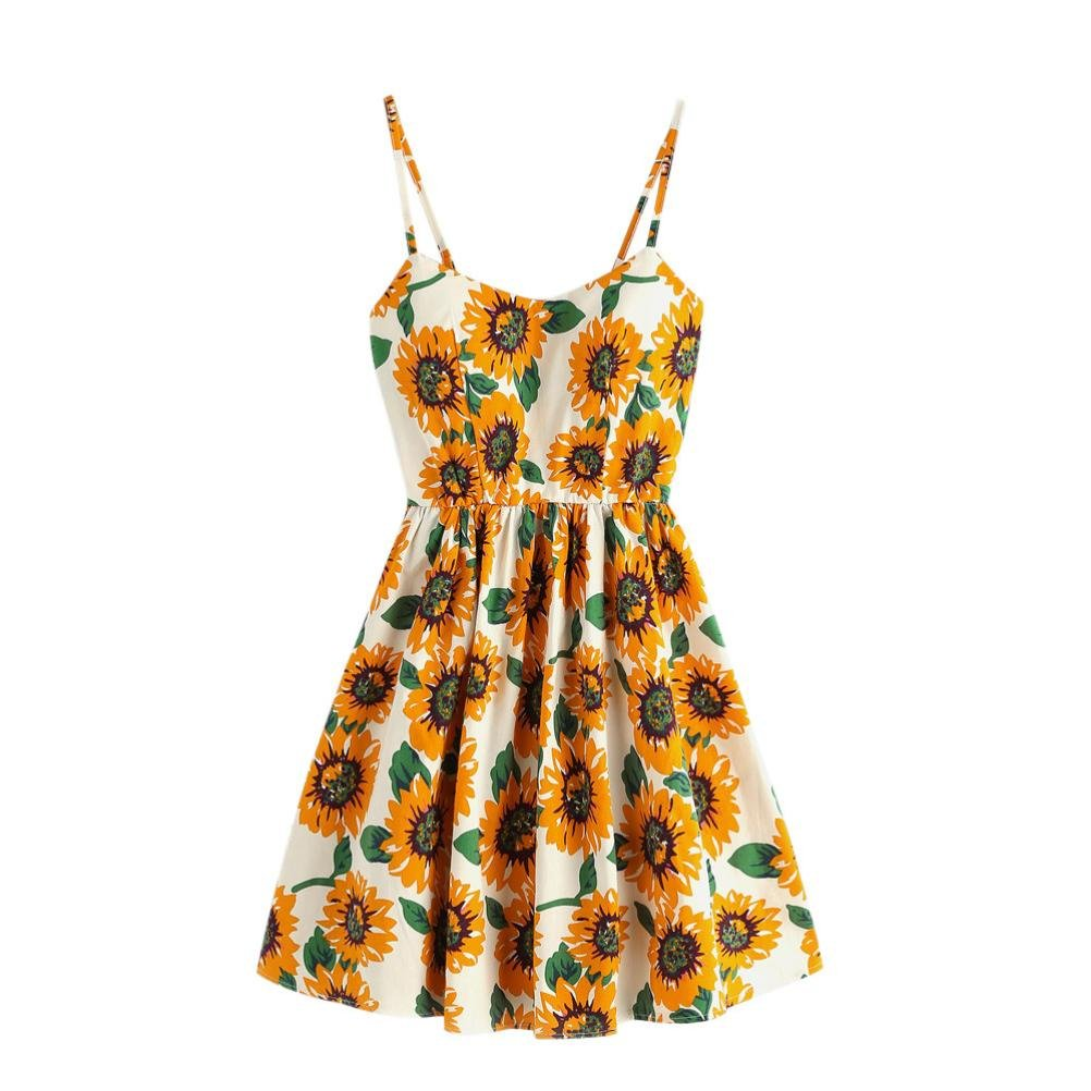 Challyhope Mini Dress, Womens Cute Sleeveless Sunflower Print Summer Sling Dress Party Sundress