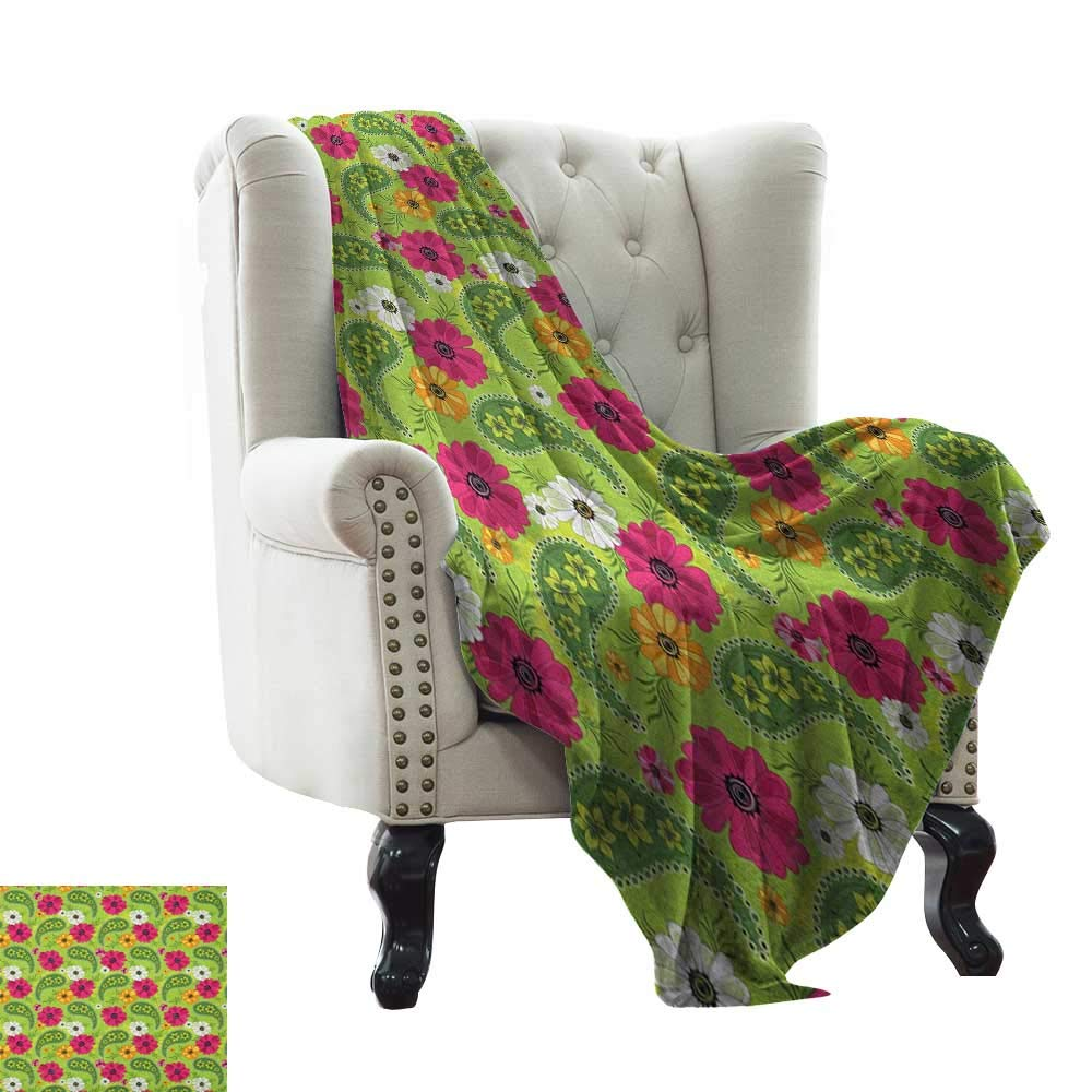 color06 60 x70  Inch Flannel Fleece Blanket Paisley,Floral Patterns with Paisley Inspired and Tulips Persian Hippie Art, White Chocolate Umber Weighted for Adults Kids, Better Deeper Sleep 50 x60