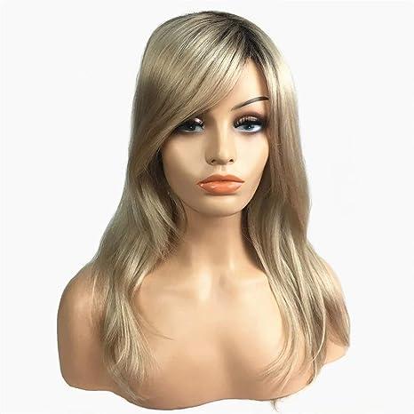 Longitud del hombro de las mujeres peluca recta Straight Blonde pelucas sintéticas de tamaño medio pelucas