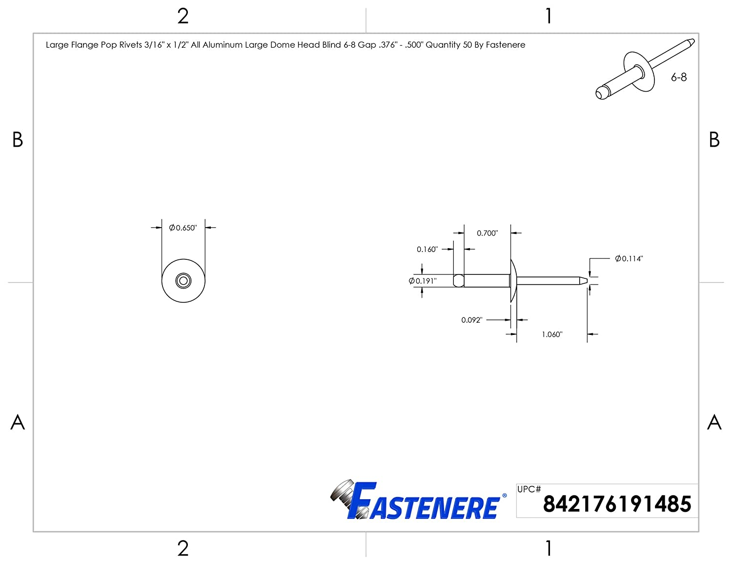 .500 Quantity 50 by Fastenere Large Flange Pop Rivets 1//8 x 1//2 All Aluminum Dome Head Blind 4-8 Gap .376
