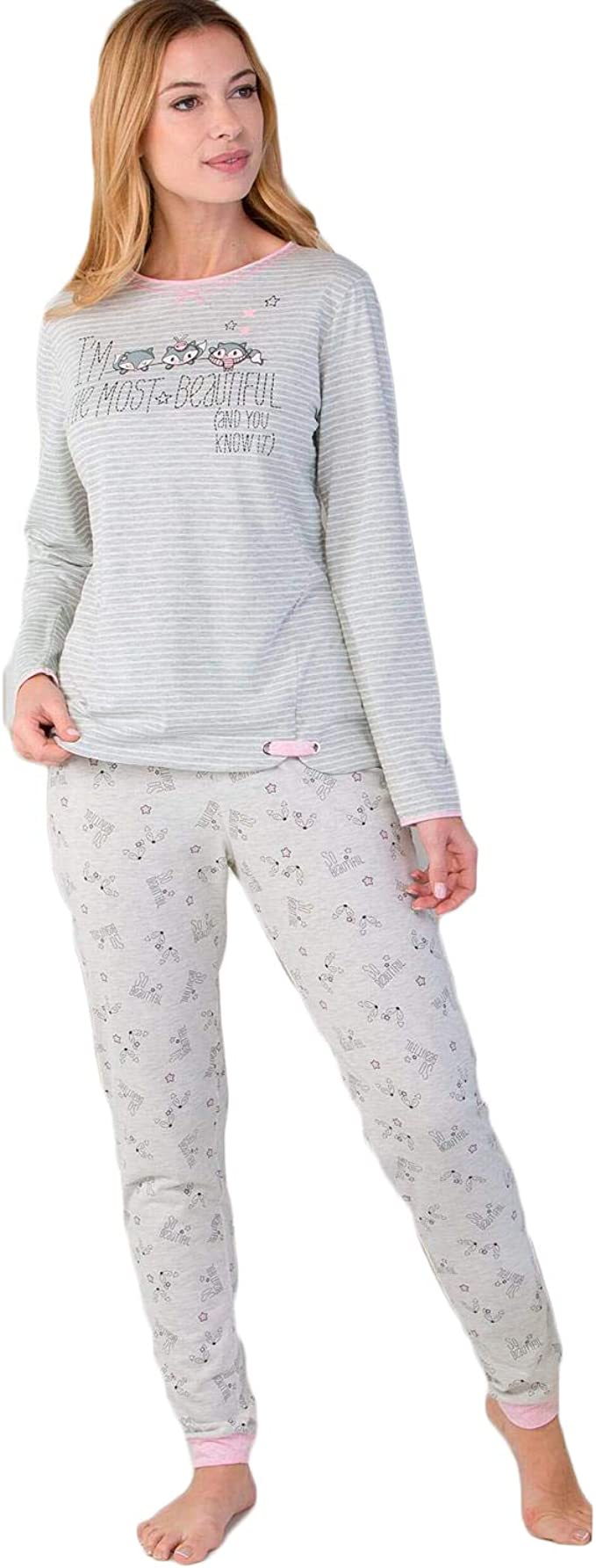 Massana - Pijama Beautiful - M, GRIS: Amazon.es: Ropa y ...