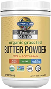 Garden of Life Dr. Formulated Keto Organic Grass Fed Butter Powder, 30 Servings, 8g Fat MCTs and CLA Plus Probiotics - Organic, Non-GMO, Gluten Free, Keto & Paleo, Best for Coffee, Shakes & Cooking