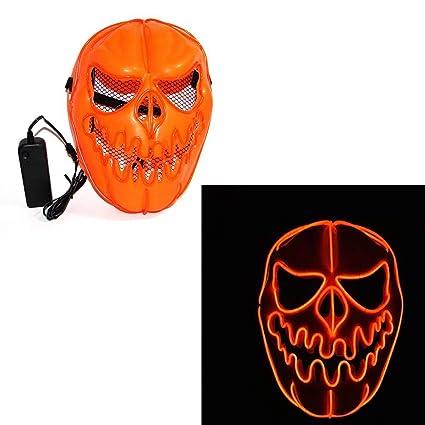 Máscara de calabaza de Halloween, máscara intermitente para cosplay LED, disfraz para carnaval de