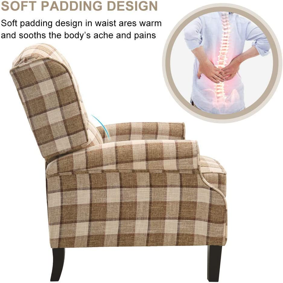 Ejoyous Armchair Adjustable Fireside Recliner Riser Chair Grey Plaid Fabric Soft Armchair Large Relax Reclining Sofa Wing Chair for Living Dining Room Bedroom Lounge Office Lounge 32 * 33 * 41in