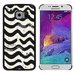 YiPhone /// Prima de resorte delgada de la cubierta del caso de Shell Armor - Waves Pattern White Black Watercolor - Samsung Galaxy S6 EDGE SM-G925