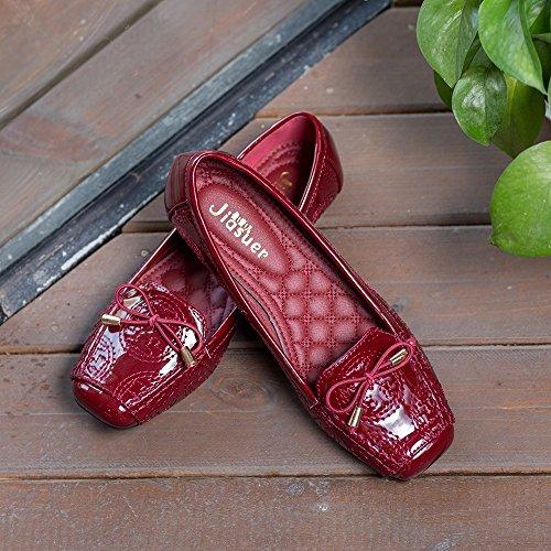 Meeshine Femmes Orteil Carré Bowknot Ballet Confort Slip On Appartements Chaussures Rouge