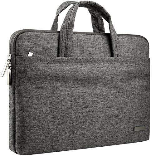 "CCPK 13 14 Inch Laptop Sleeve Case Bag Waterproof Briefcase Compatible for 13.3 MacBook Pro Air 13.5 Microsoft Surface Book, 14"" Dell Latitude 7490 Hp Pavilion x360 Elitebook 840 Handbag Black Gray"