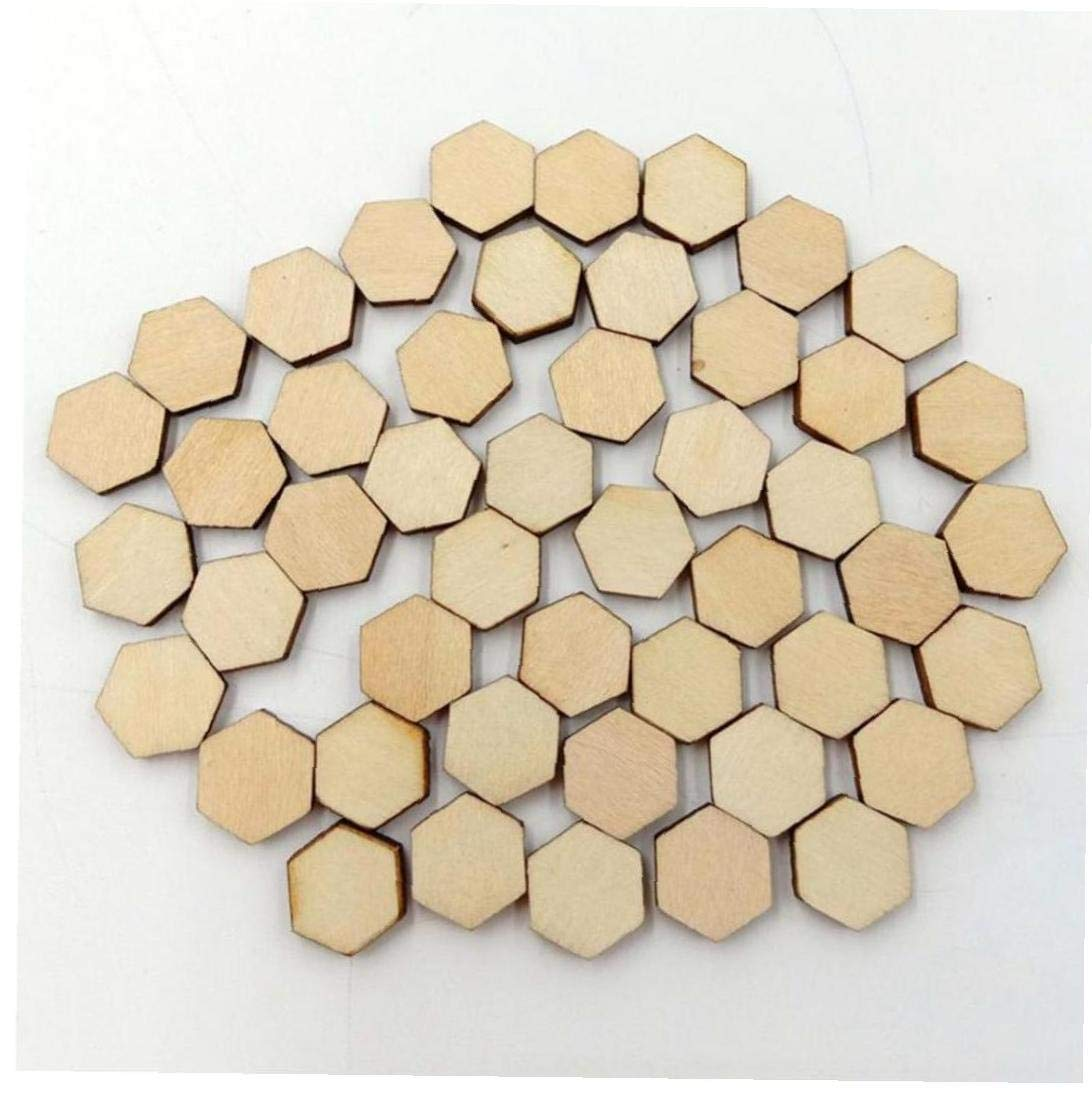 AMOYER 200 Forma Piezas De Madera Discos Rebanadas Hexagonal Sin Terminar De Madera del Arte DIY De La Decoraci/ón De Recortes