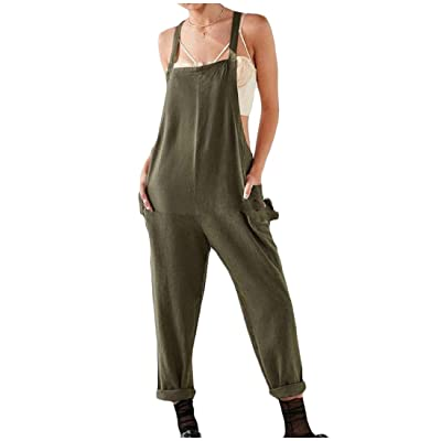 Abetteric Womens Casual Cami Jumpsuit Solid Colored Wide Leg Overalls