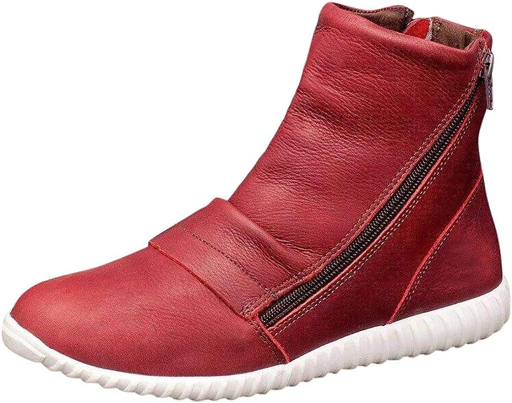 Kanlin1986 Botas Mujer Botines Mujer Invierno 2019 2020 Zapatos Mujer Invierno Botas Retro De Cuero Planas Ocasionales De Las Mujeres Cremallera Lateral Zapatos De Punta Redonda Botas