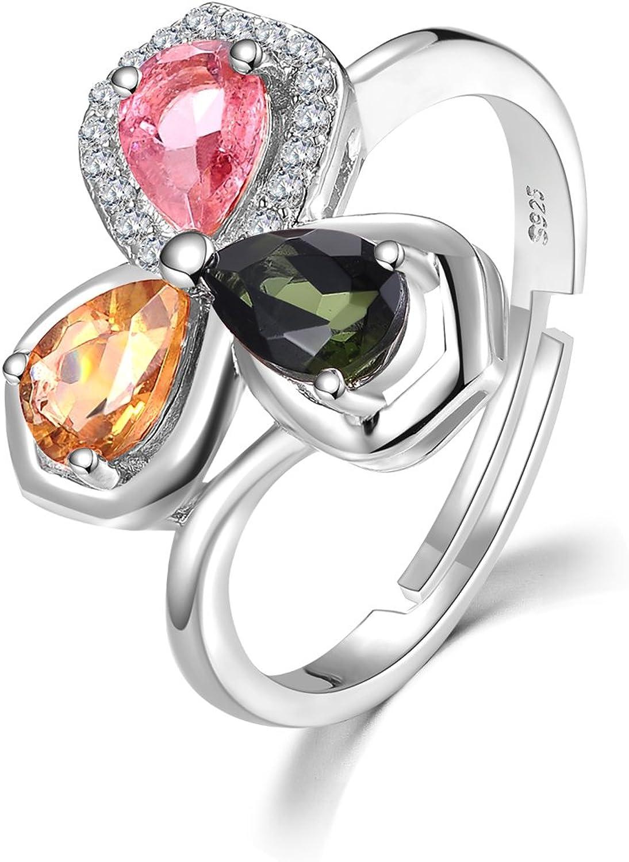 colorfey S925plata de ley con forma de flores Gemstone turmalina oro blanco declaración ajustable anillos L, M, N, o, P, Q, S